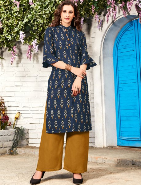 Navy Blue Rayon Printed Party Kurti