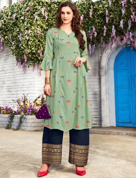 Light Viridian Green Rayon Printed Party Kurti