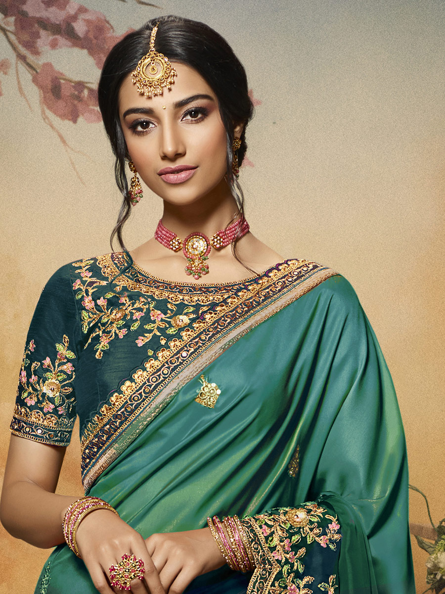 Teal Green and Persian Green Silk Embroidered Party Saree