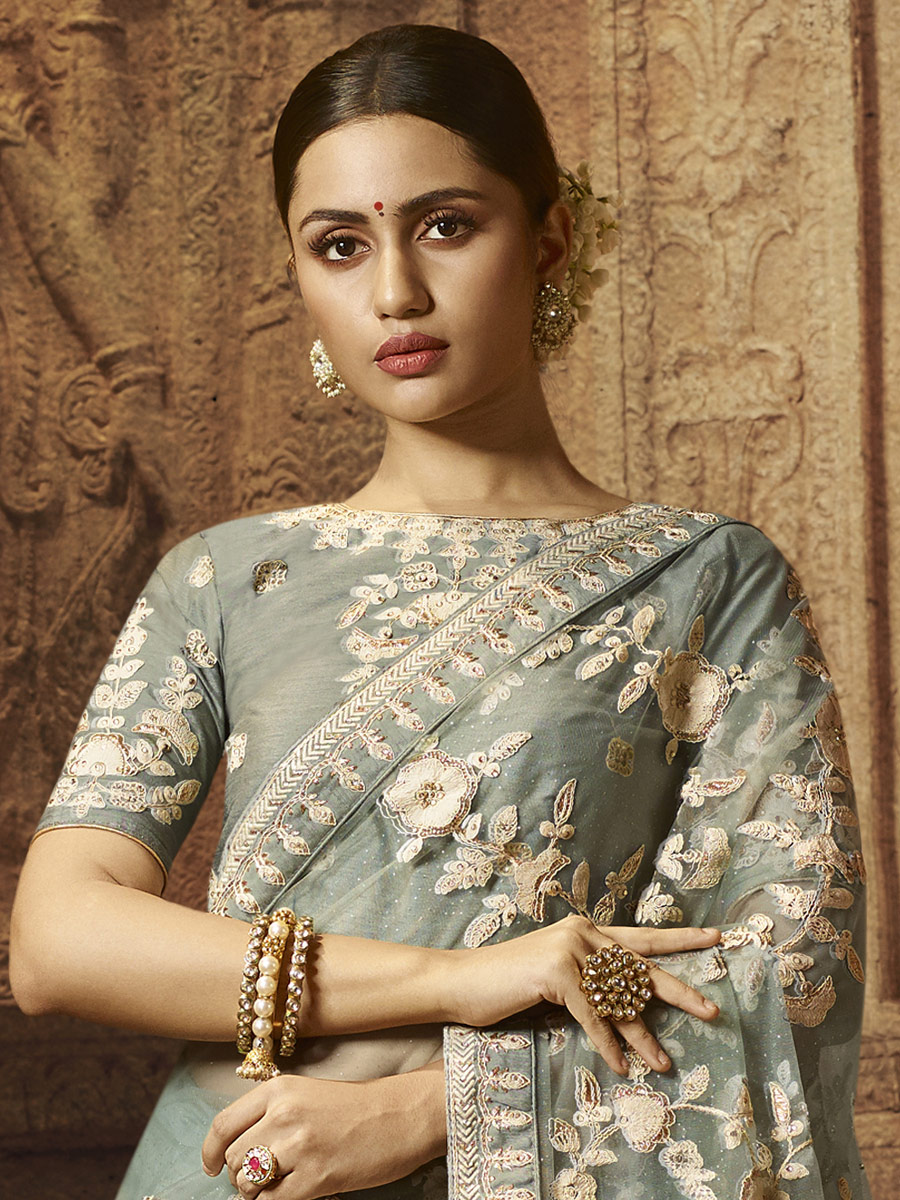 Gray Net Embroidered Festival Saree