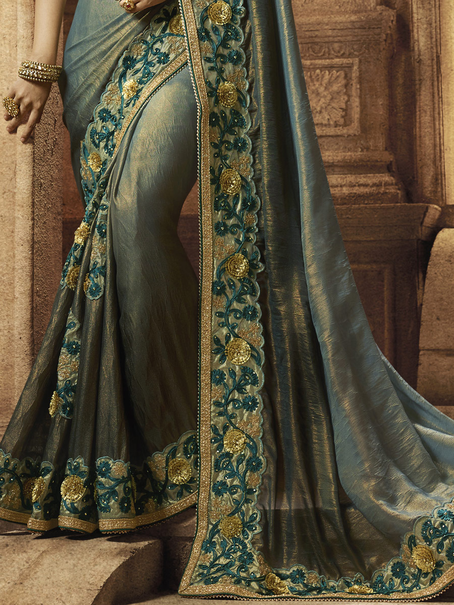 Light Viridian Green Faux Georgette Embroidered Party Saree