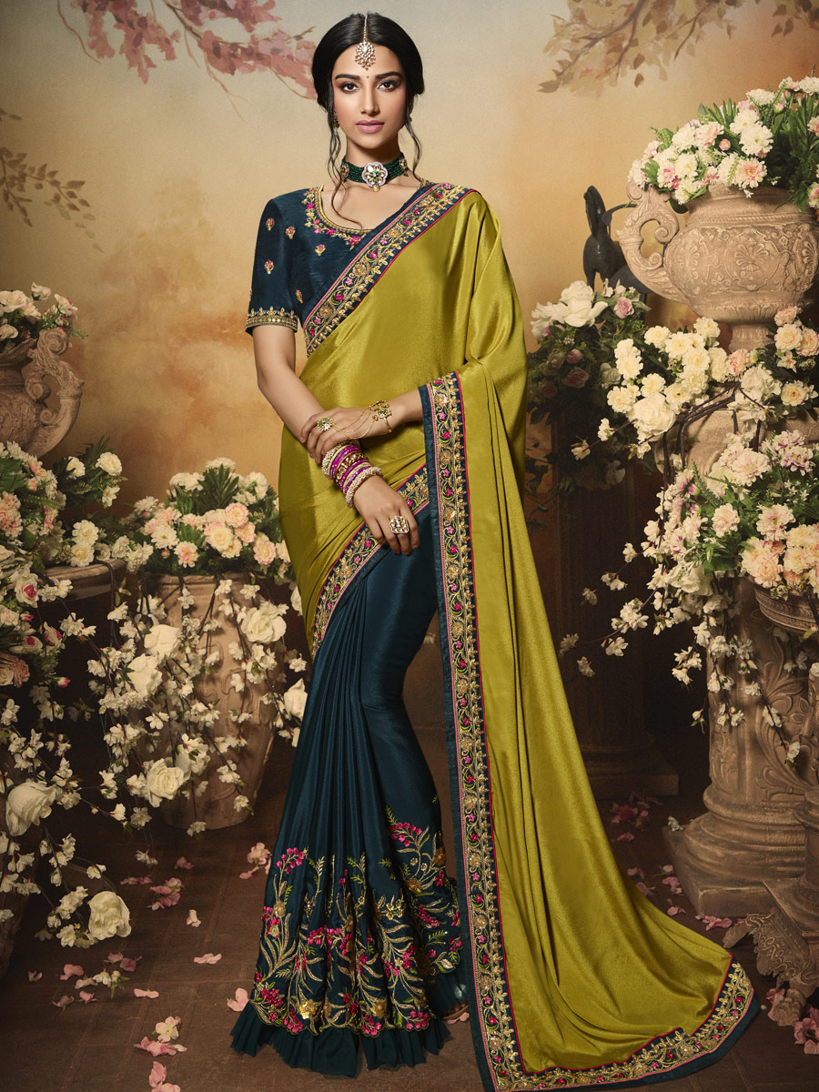 Parrot Green and Midnight Green Silk Embroidered Festival Saree