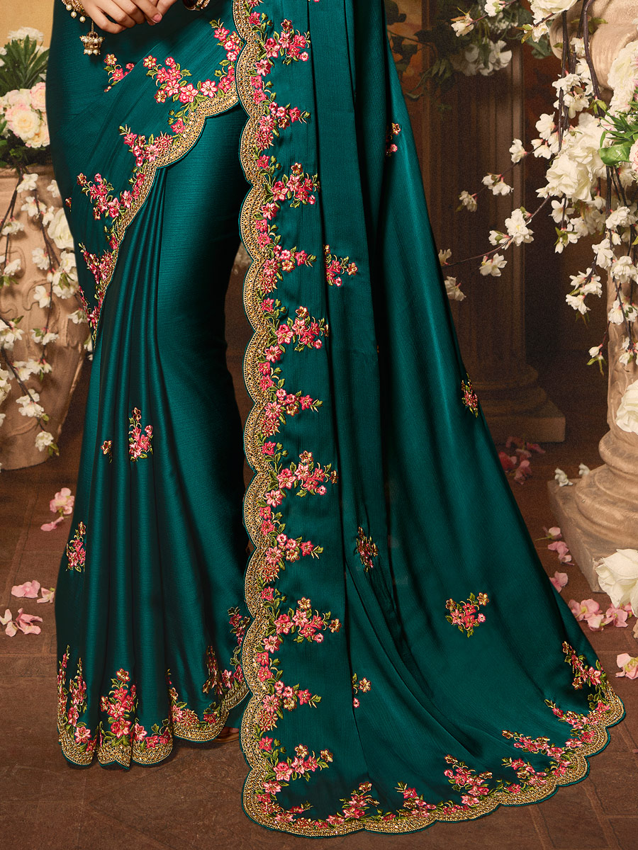 Teal Green Chiffon Embroidered Party Saree