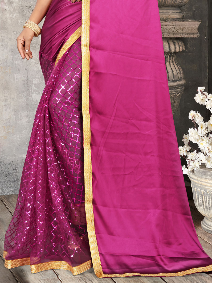Magenta Pink Satin and Net Embroidered Party Saree