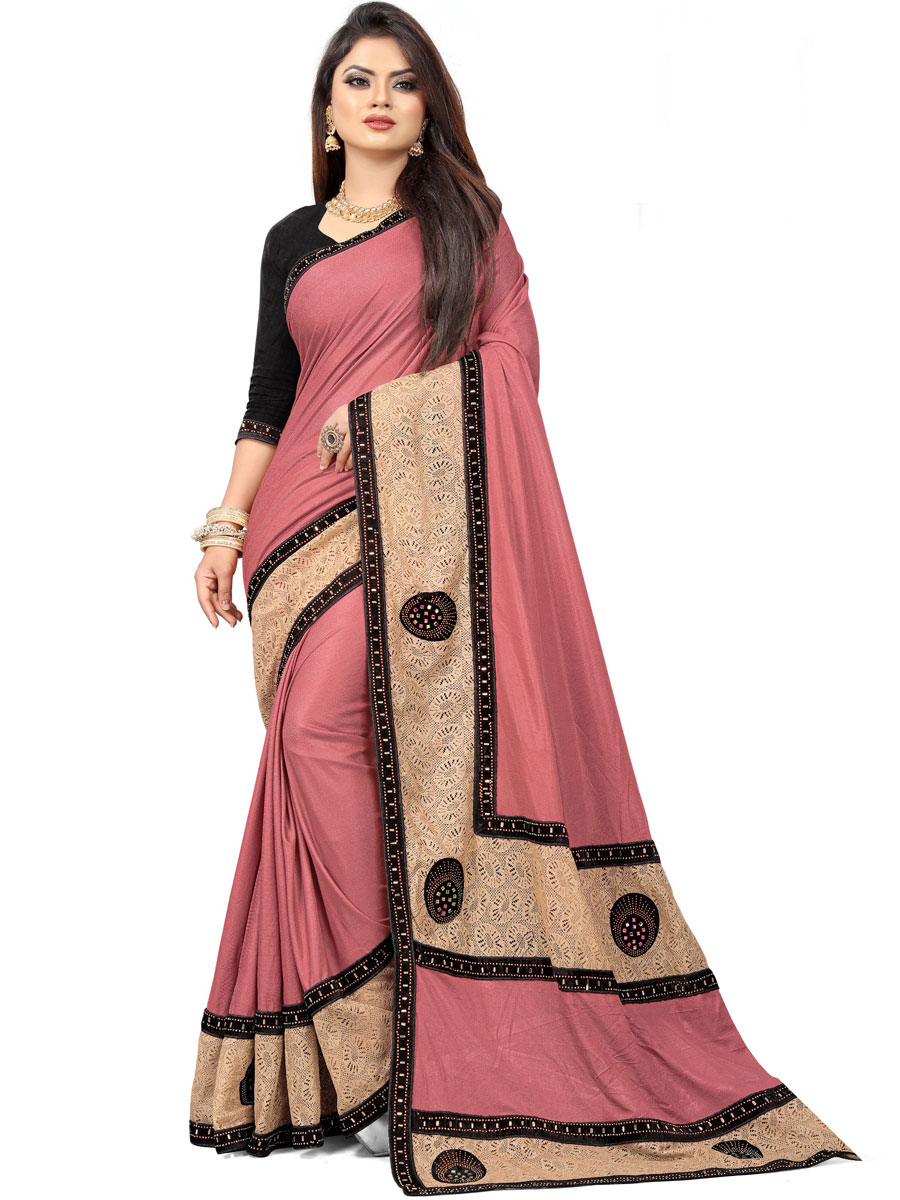 Thulian Pink Imported Fabric Designer Party Saree
