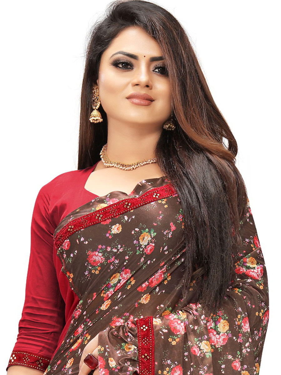 Sepia Brown and Rose Madder Red Imported Fabric Designer Party Saree