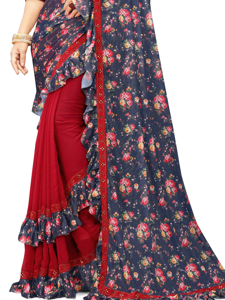 Navy Blue and Rose Madder Red Imported Fabric Designer Party Saree