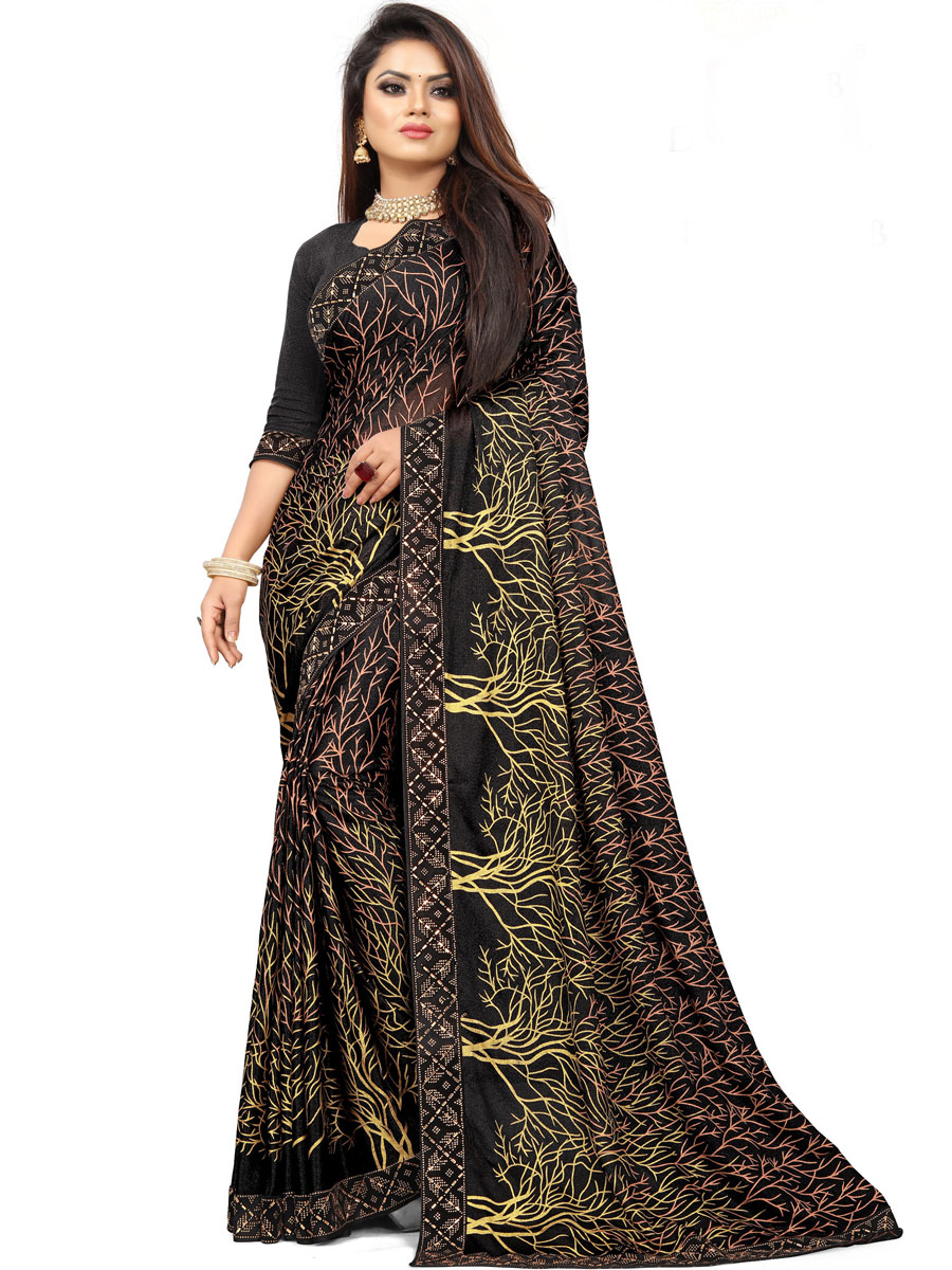 Black Imported Fabric Printed Party Saree