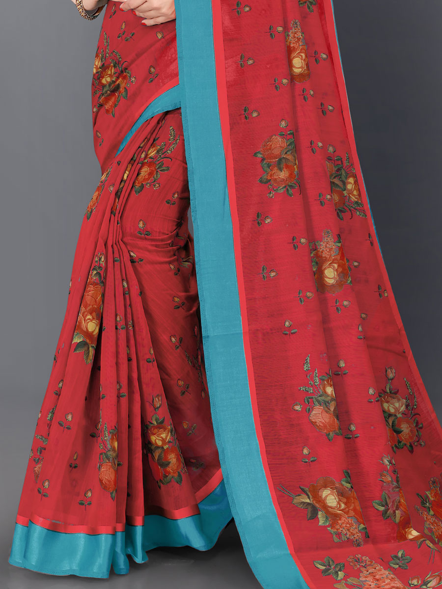 Rose Madder Red Cotton Printed Casual Saree