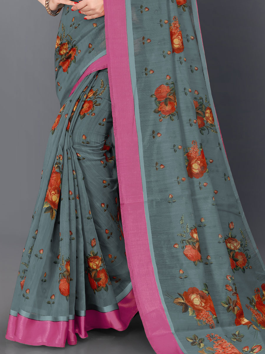 Gray Cotton Printed Casual Saree