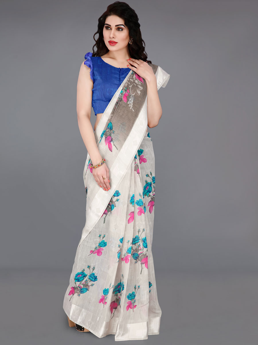 Off-White Cotton Printed Casual Saree
