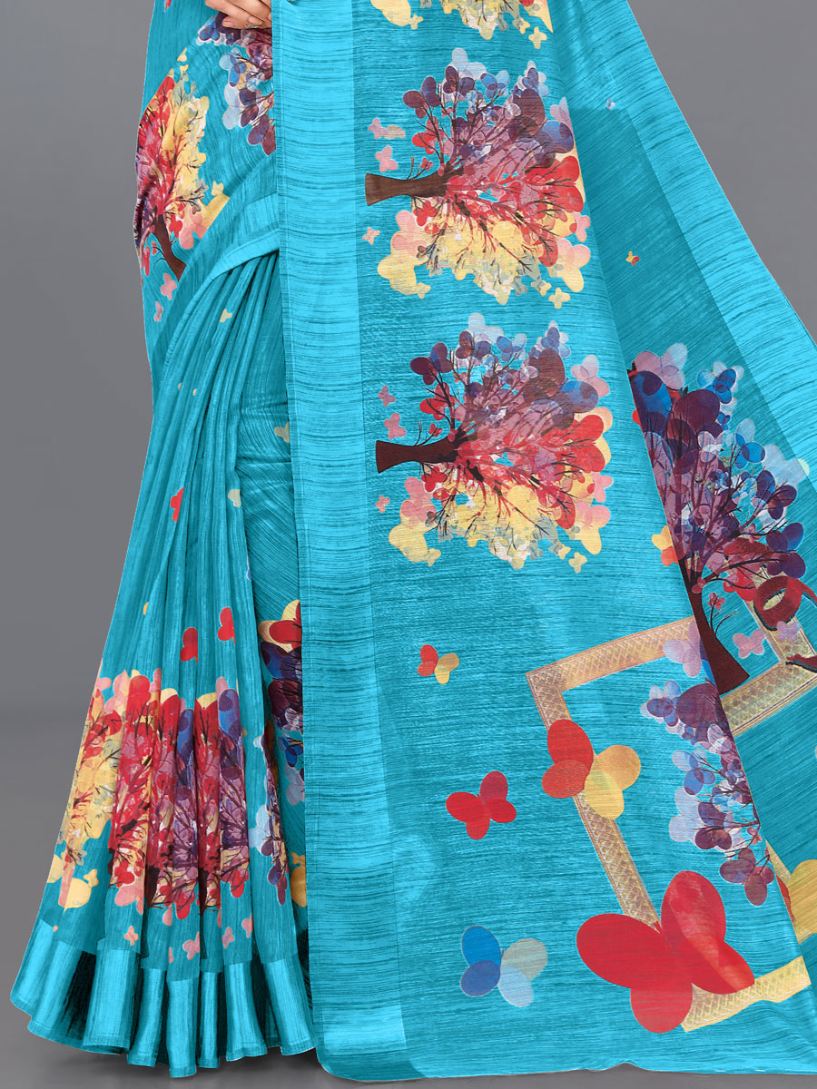 Turquoise Blue Cotton Priinted Casual Saree