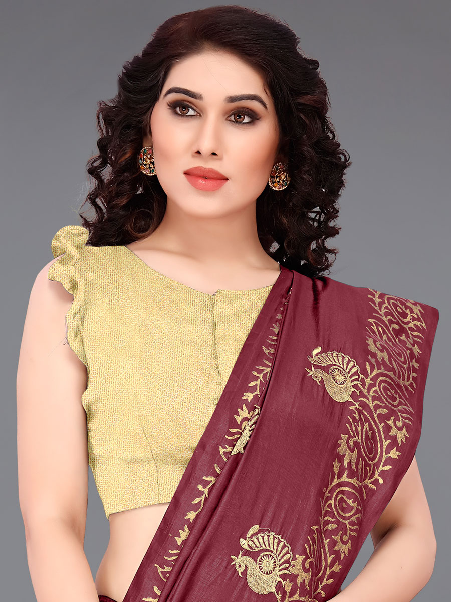 Maroon Silk Embroidered Party Saree