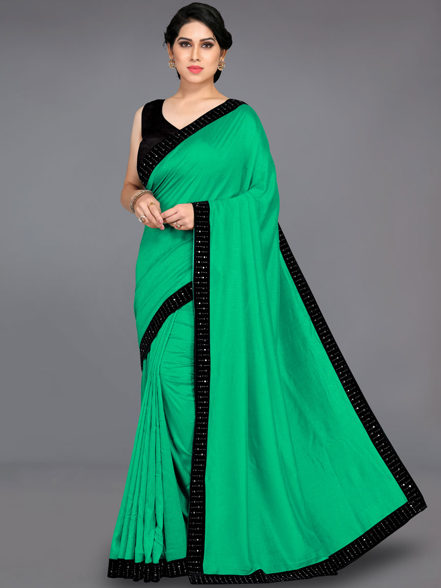 Green and Black Vichitra Silk Plain Party Saree