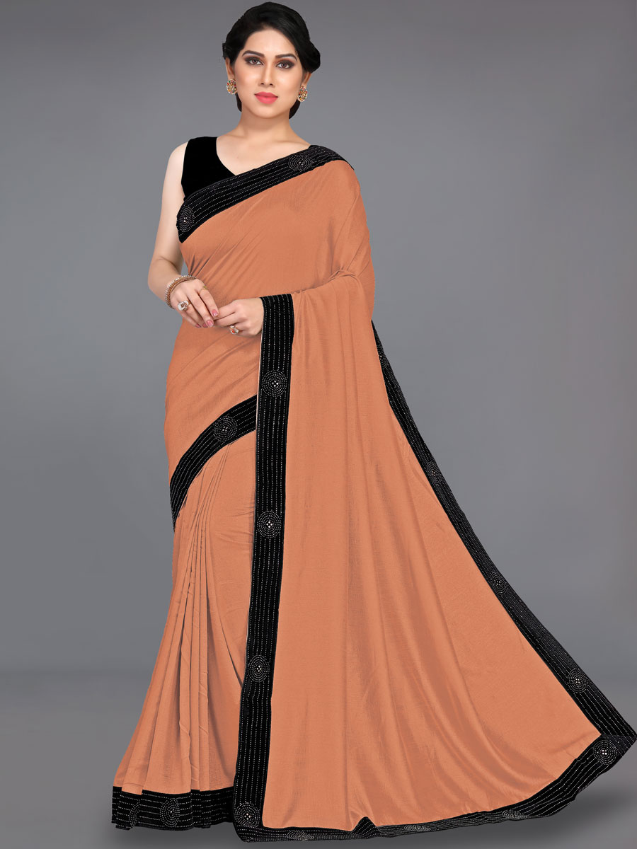 Light Brown and Black Vichitra Silk Plain Party Saree