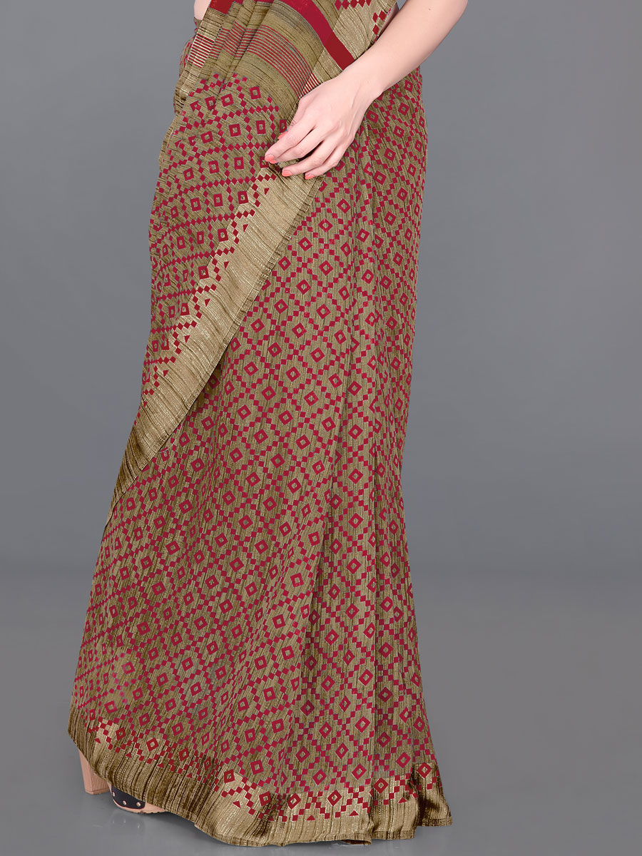 Beige Yellow and Venetian Red Cotton Printed Casual Saree