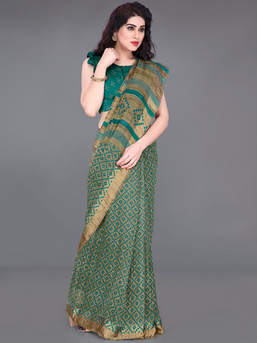 Beige Yellow and Teal Green Cotton Printed Casual Saree