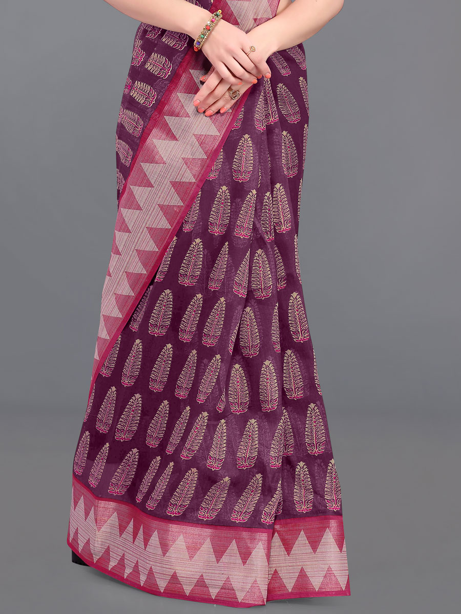 Wine Red and Dark Pink Cotton Printed Casual Saree