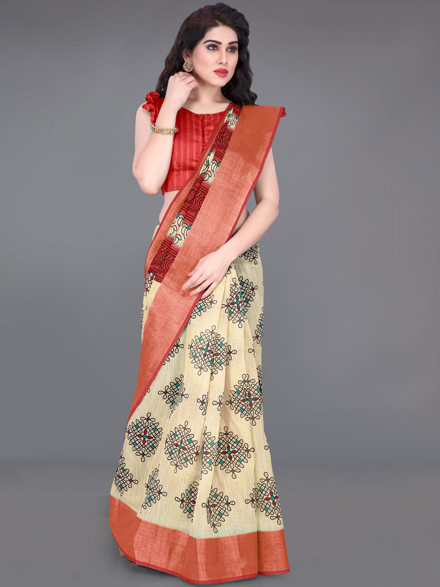 Cream Yellow and Rose Madder Red Cotton Printed Casual Saree