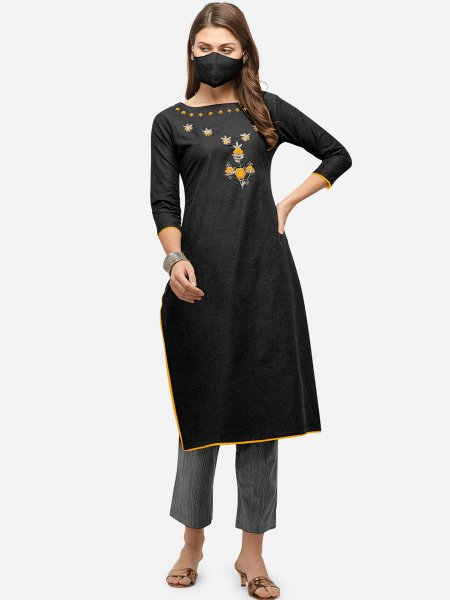 Black Cotton Embroidered Party Kurti