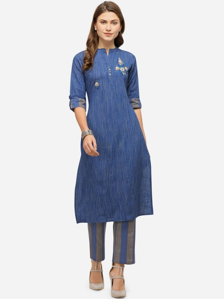 Denim Blue and Gray Cotton Embroidered Festival Kurti