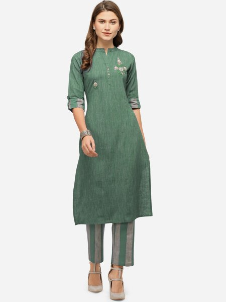 Viridian Green and Gray Cotton Embroidered Festival Kurti