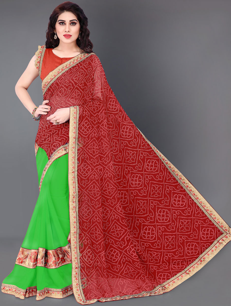 Venetian Red and Parrot Green Faux Georgette Embroidered Party Saree