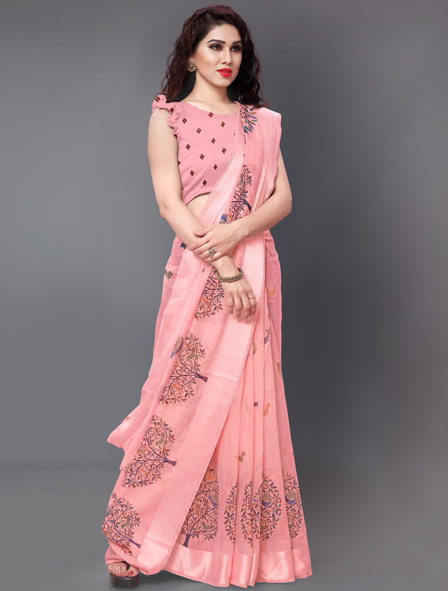 Coral Pink Cotton Printed Casual Saree
