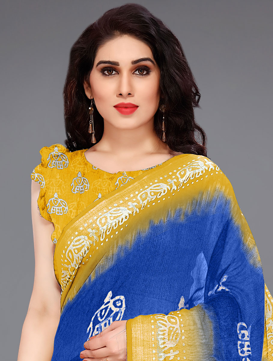 Dark Blue and Mustard Yellow Cotton Printed Casual Saree