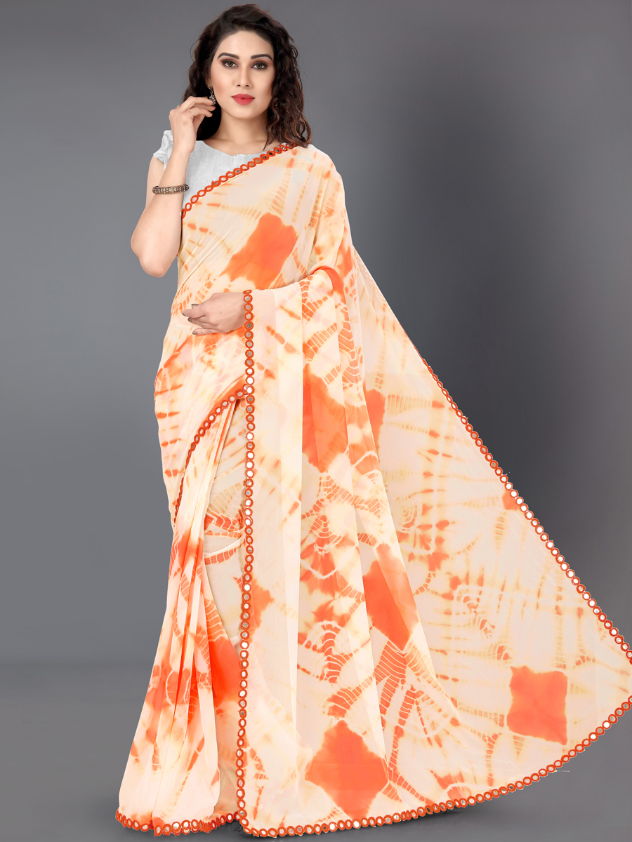 Orange Faux Georgette Printed Casual Saree