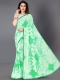 Sea Green Faux Georgette Printed Casual Saree