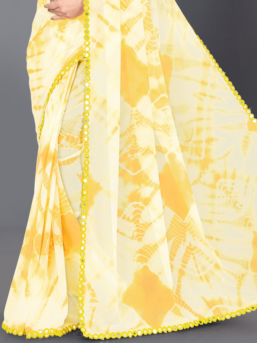 Light Yellow Faux Georgette Printed Casual Saree