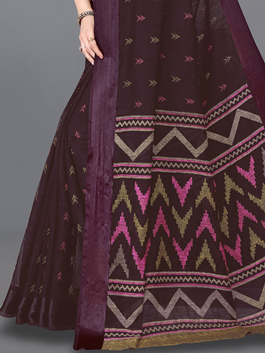 Wine Red Cotton Printed Casual Saree