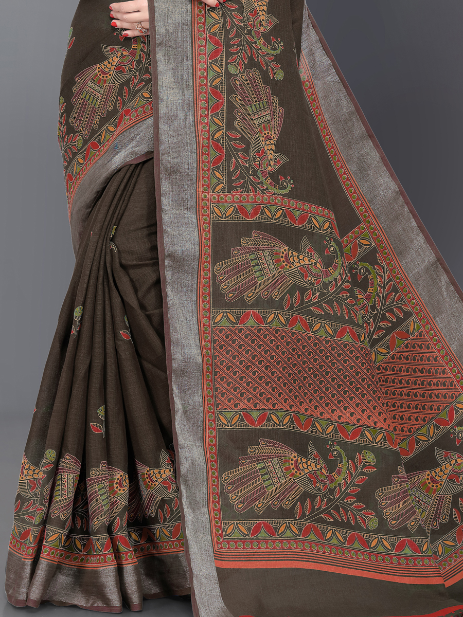 Raw Umber Brown Linen Printed Casual Saree