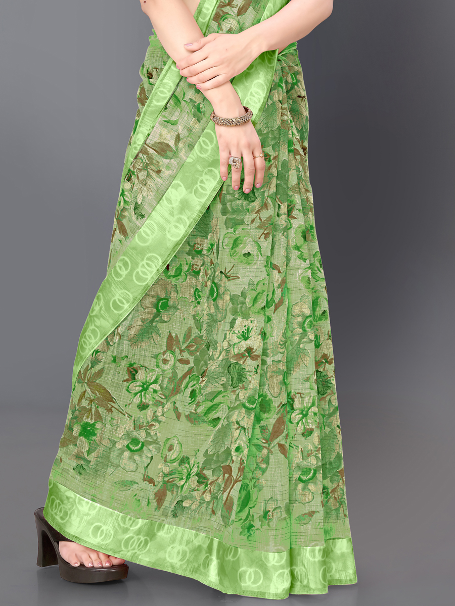 Asparagus Green Poly Cotton Printed Casual Saree
