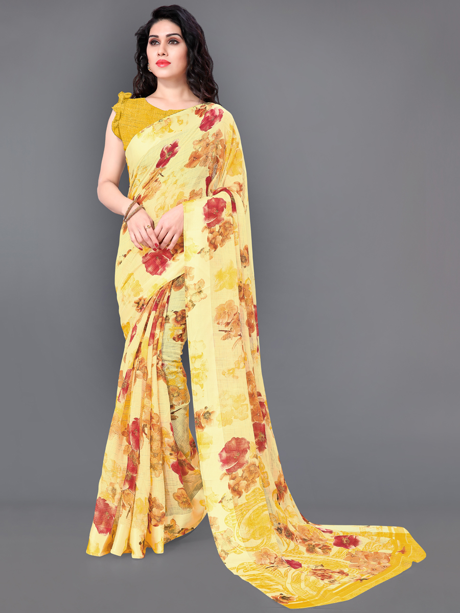 Maize Yellow Poly Cotton Printed Casual Saree