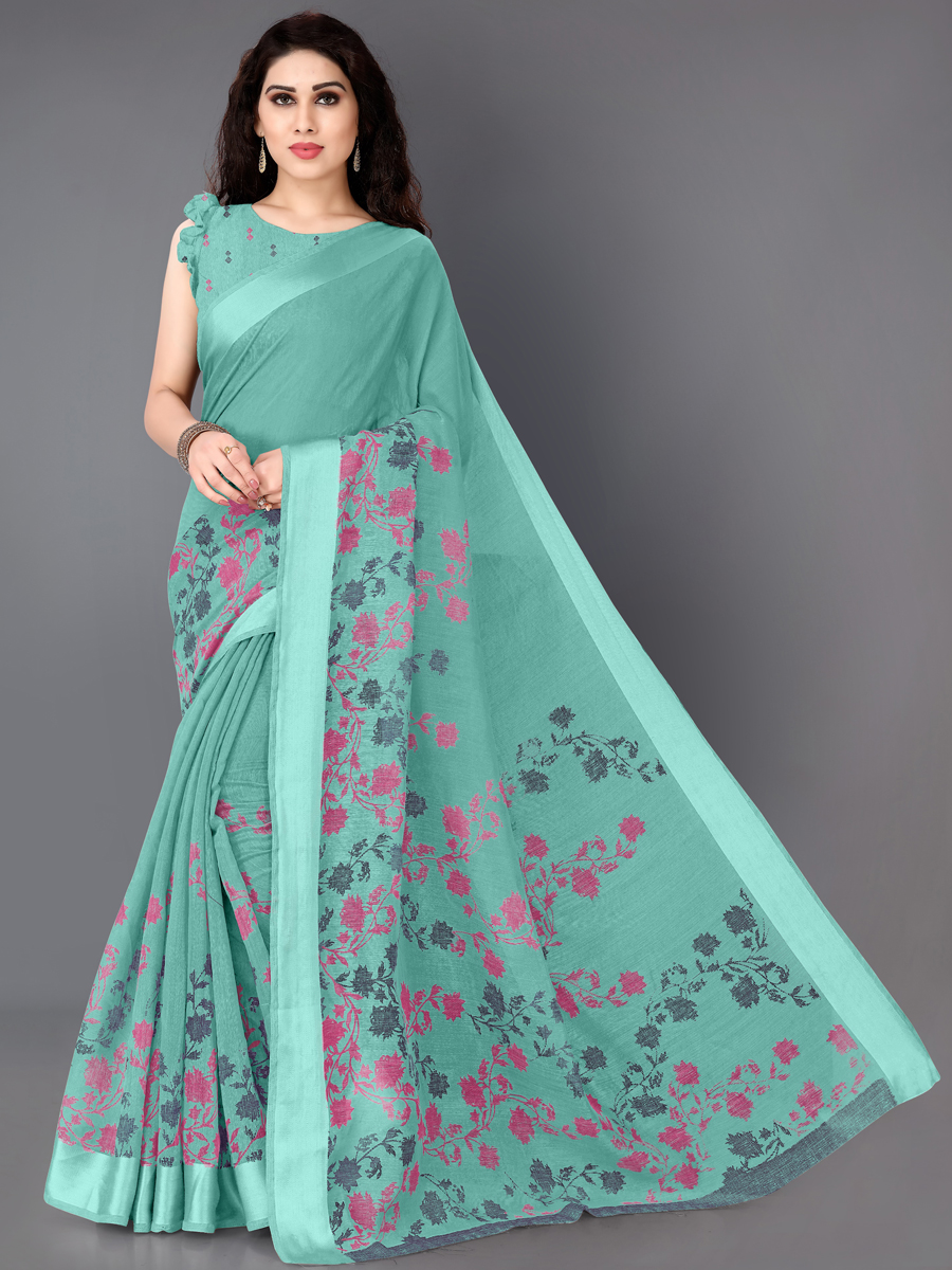 Sea Green Cotton Printed Casual Saree