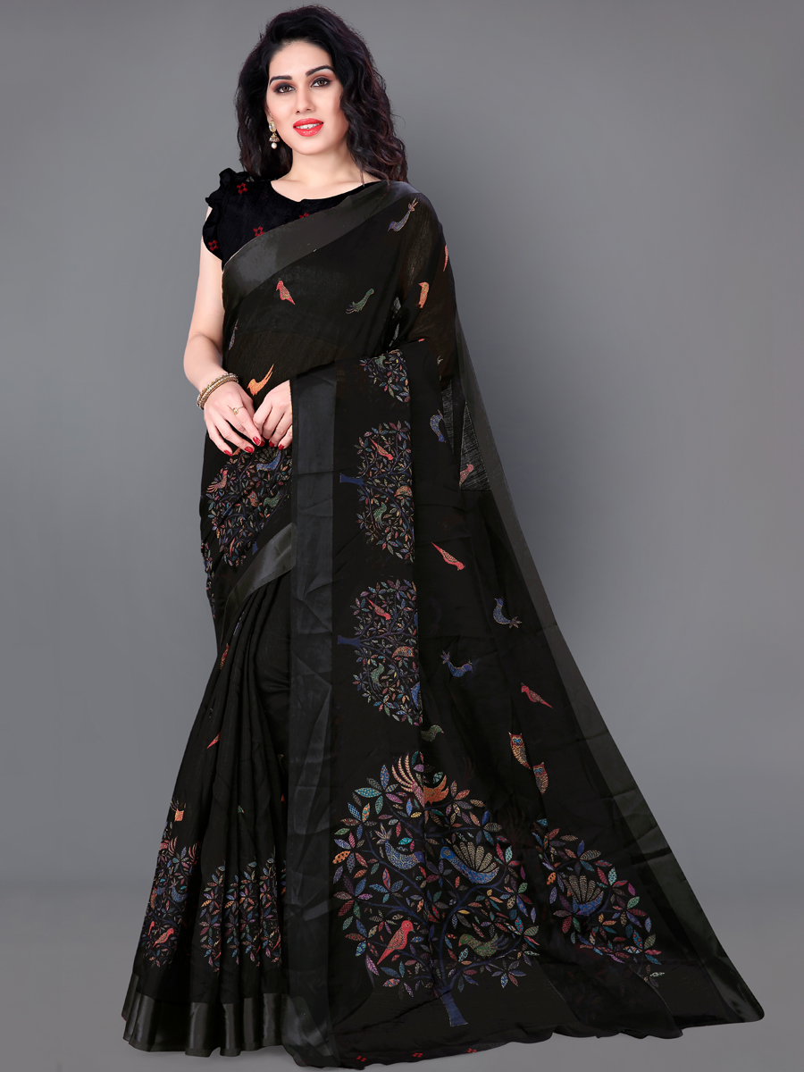 Black Cotton Printed Casual Saree