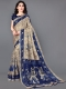 Beige Yellow and Navy Blue Khadi Silk Printed Casual Saree