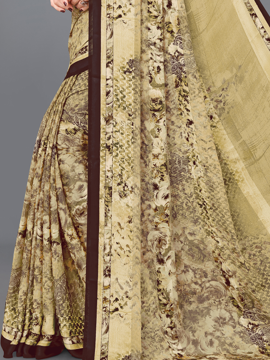 Light Brown Brasso Printed Casual Saree