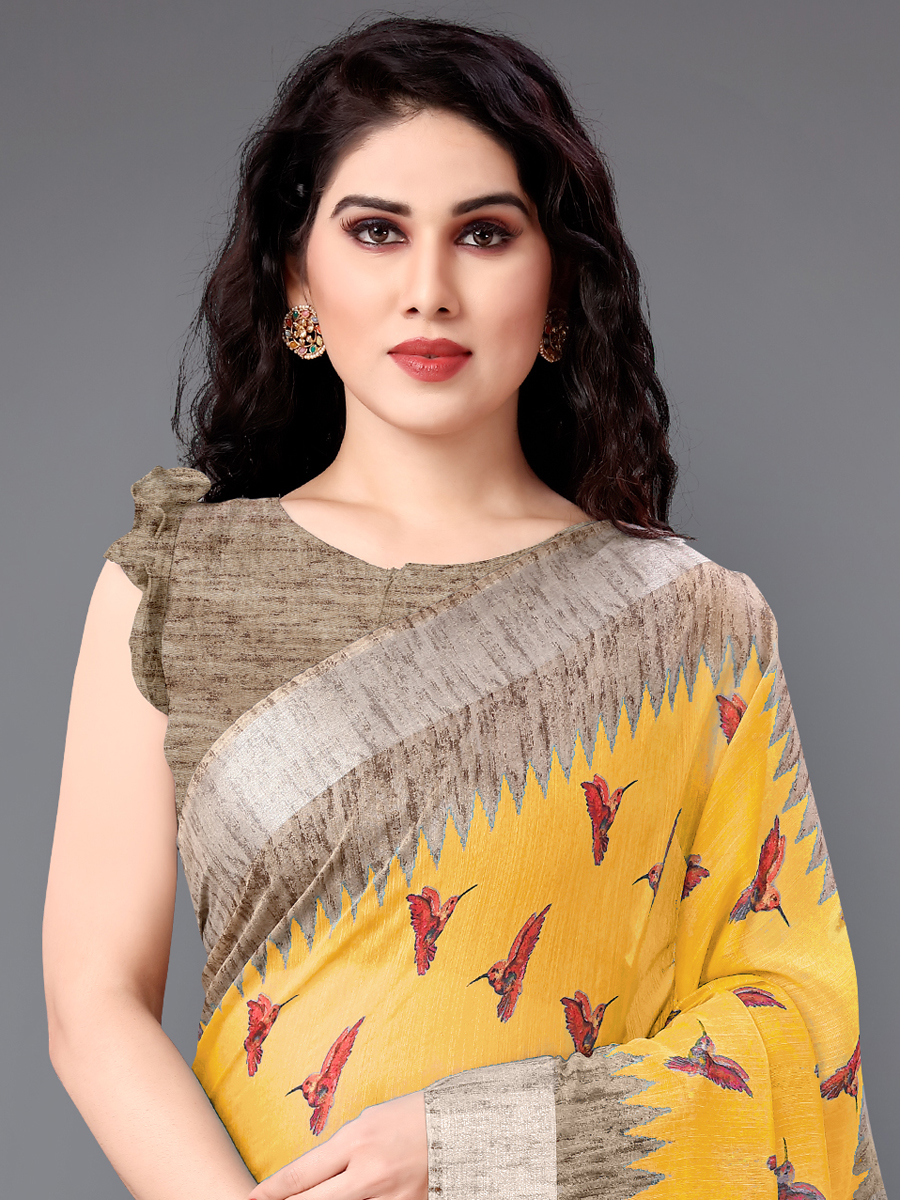 Mustard Yellow and Beige Yellow Cotton Printed Casual Saree