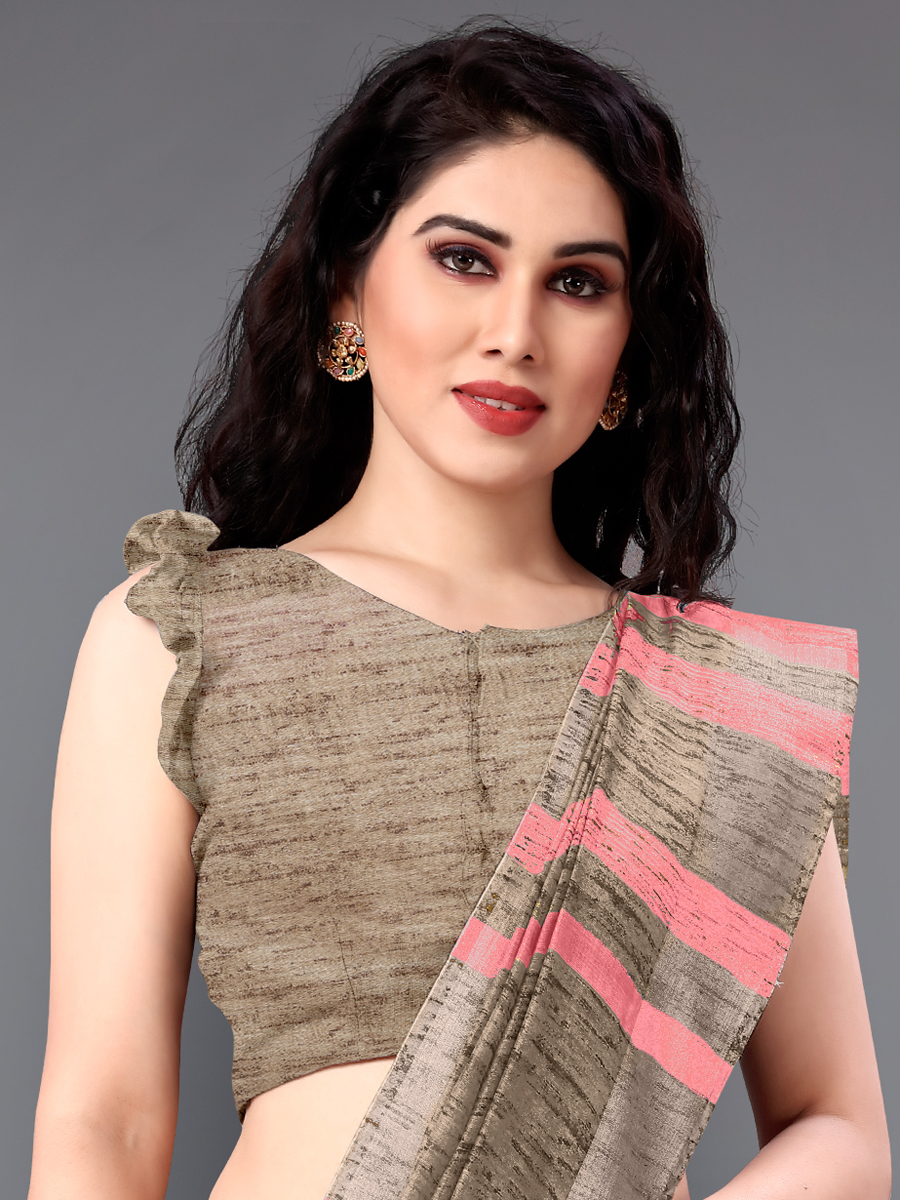 Dark Pink and Beige Yellow Cotton Printed Casual Saree