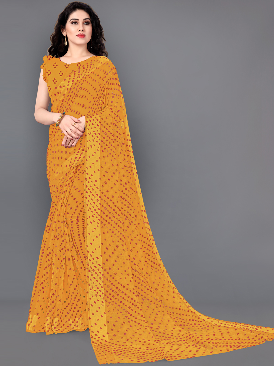 Mustard Yellow Cotton Bandhej Festival Saree
