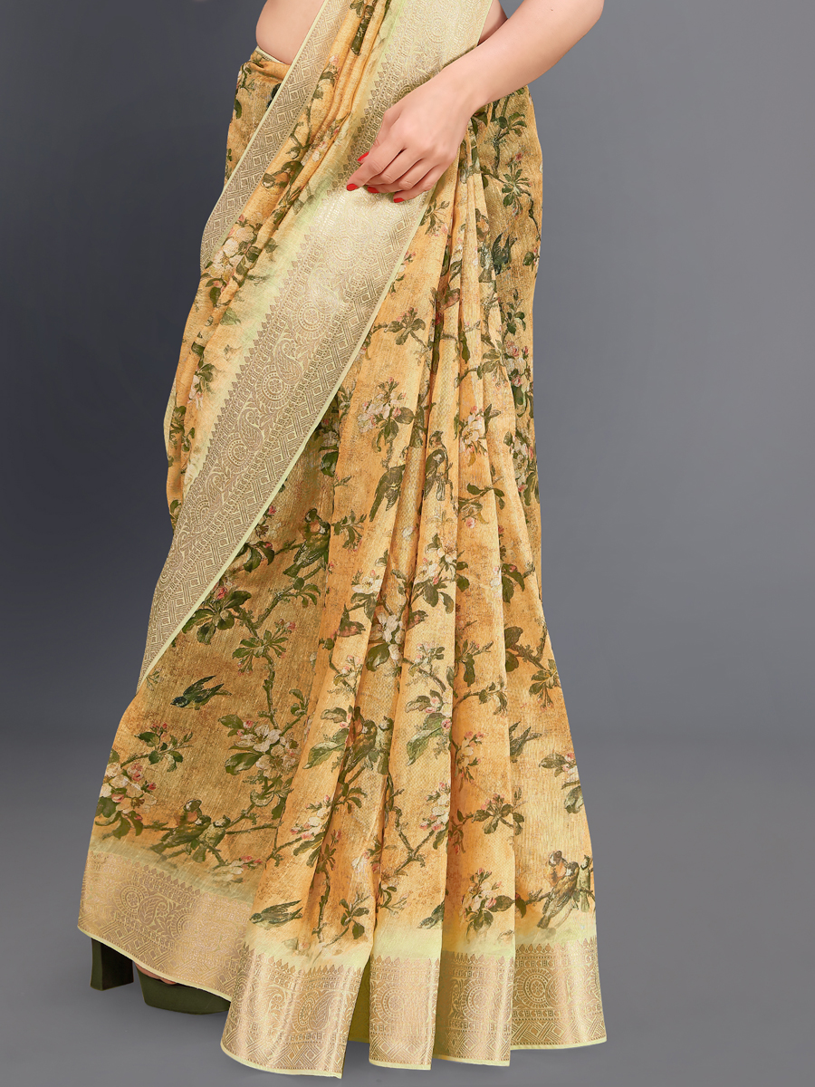 Light Yellow Cotton Silk Printed Casual Saree