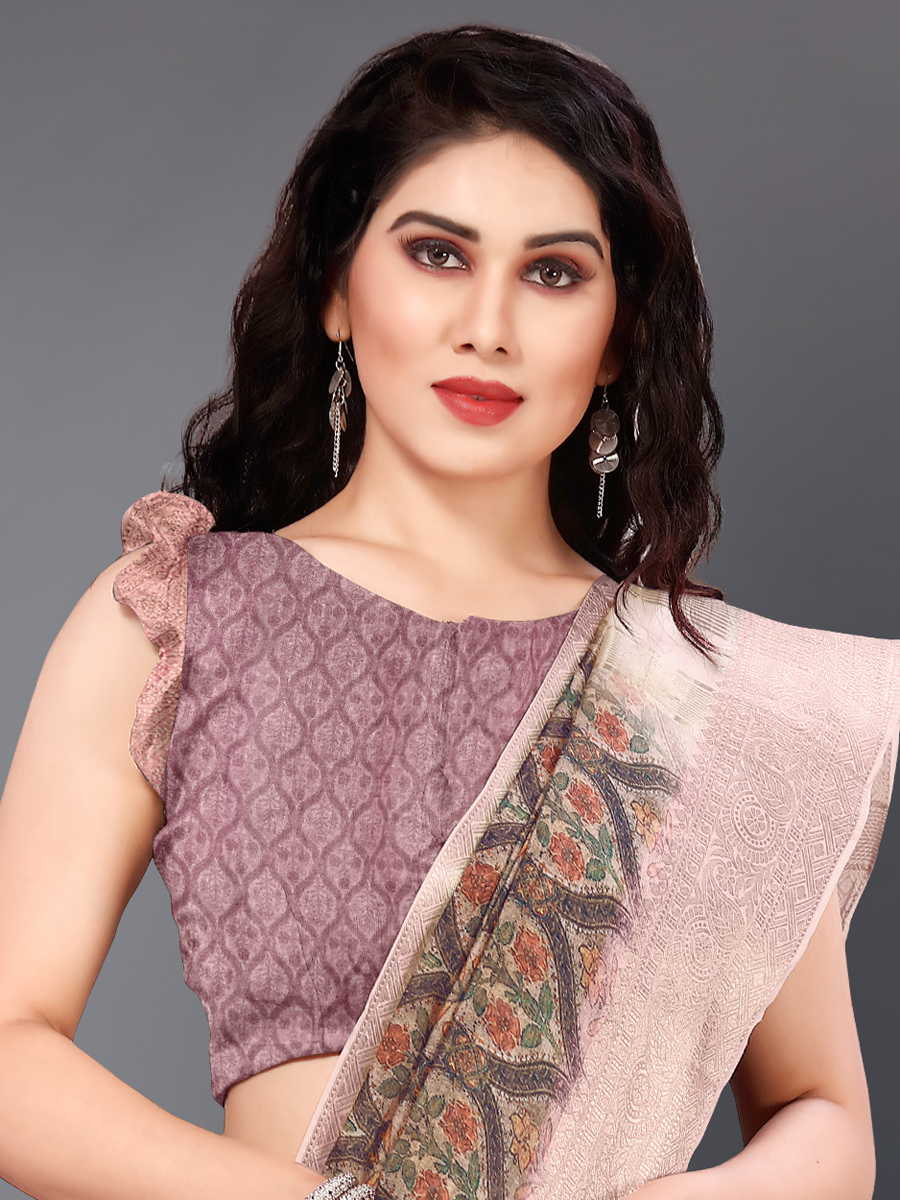 Wine Red and Light Pink Cotton Silk Printed Casual Saree