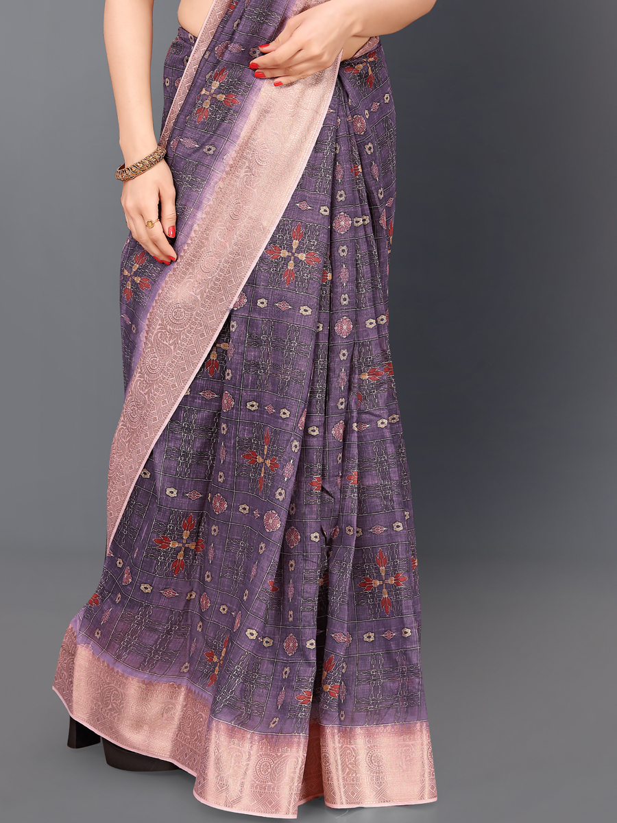 Violet and Light Thulian Pink Cotton Silk Printed Casual Saree
