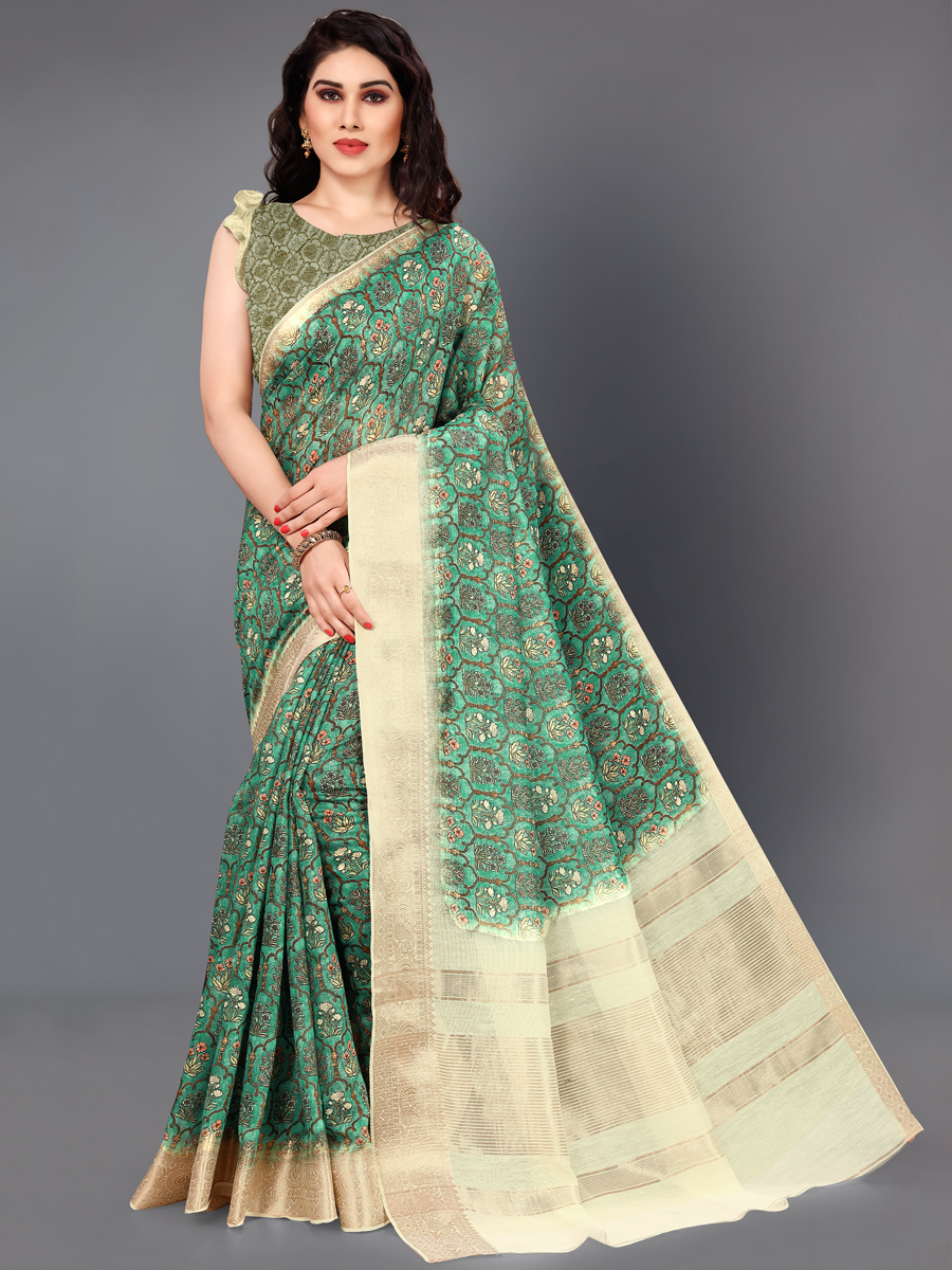 Persian Green and Beige Yellow Cotton Silk Printed Casual Saree