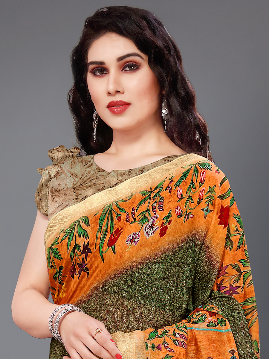 Army Green and Orange Cotton Silk Printed Casual Saree