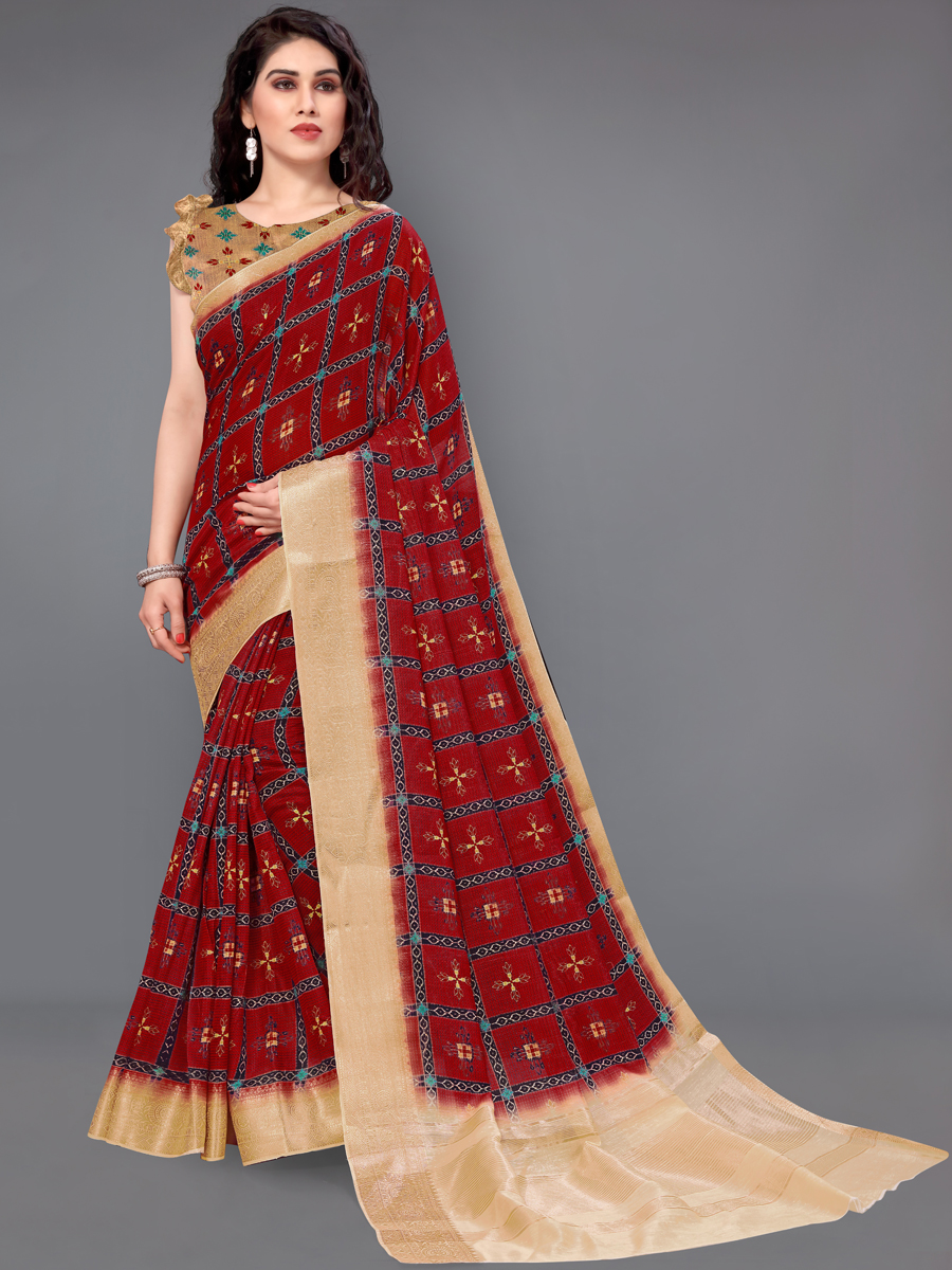 Venetian Red Cotton Silk Printed Casual Saree