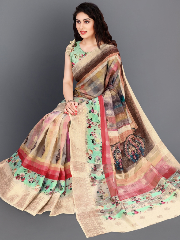 Beige Yellow and Sea Green Cotton Silk Printed Casual Saree